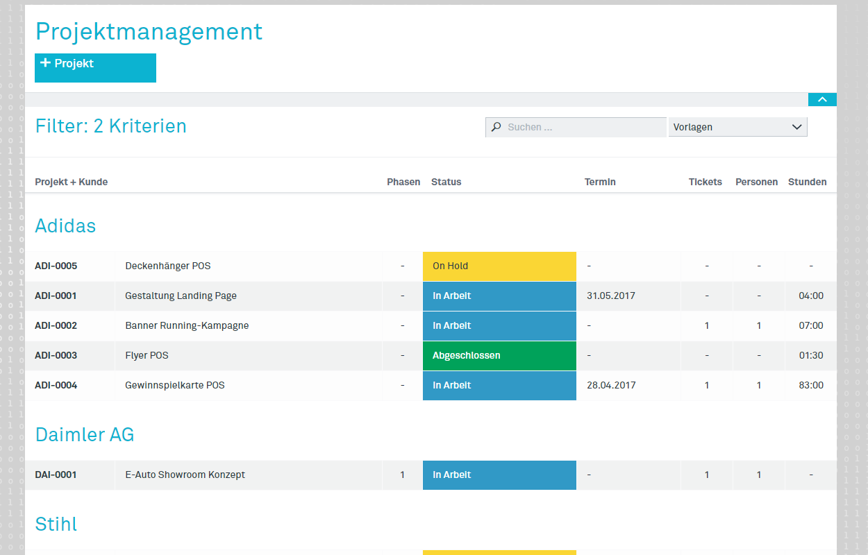 Screenshot Projektmanagement