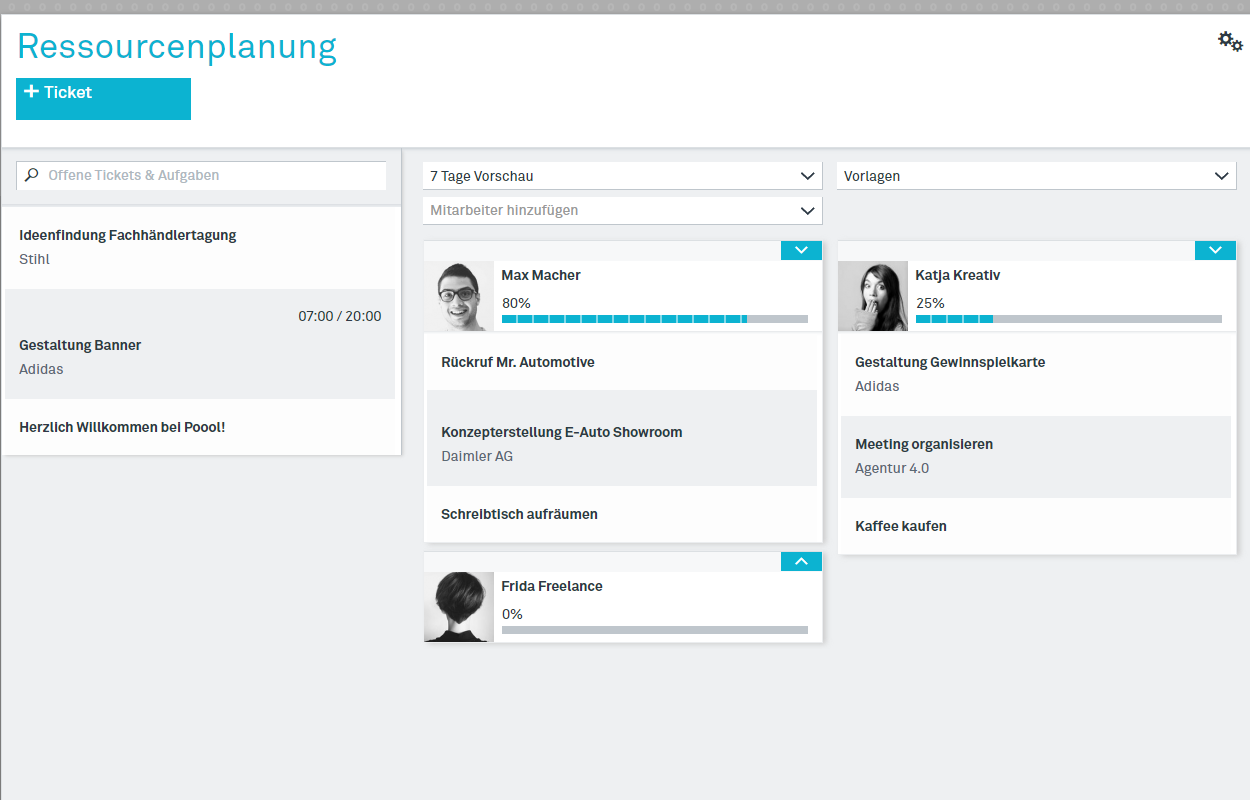Screenshot Ressourcenplanung
